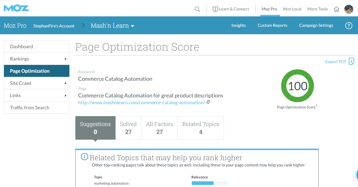Moz Page Optimization